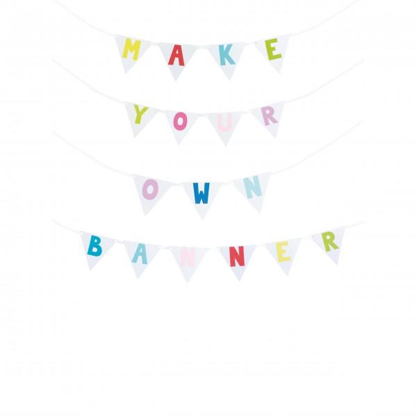 JaBaDaBaDo Buchstaben-Wimpelkette zum Selbstgestalten (Bunt)