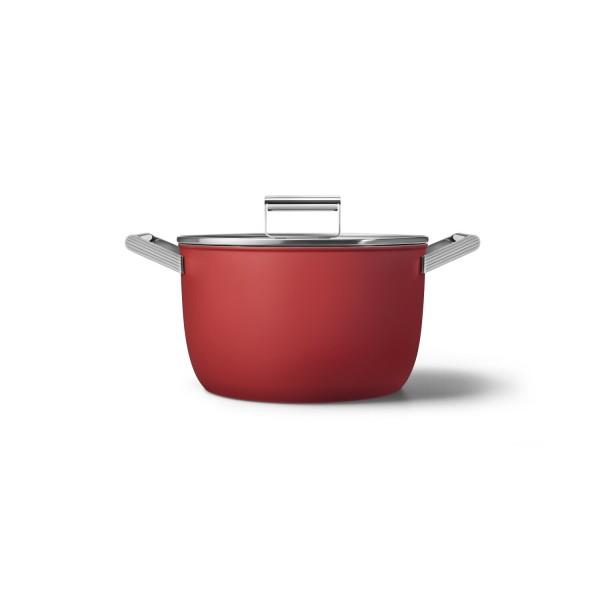 """smeg Kochtopf """"50's Retro Style"""" mit 2 Griffen und Deckel - Ø 26cm (Rot)"""