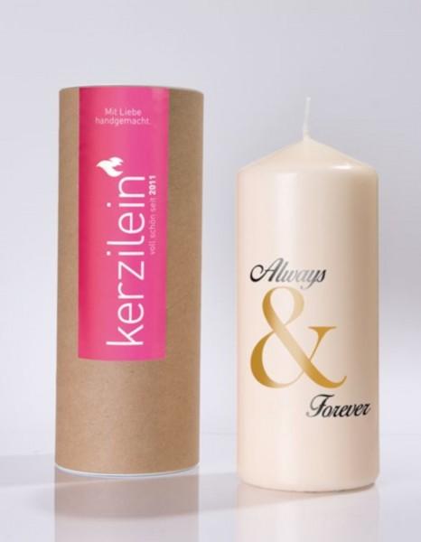 """Kerze """"Always & Forever"""" (Gold und Schwarz)"""