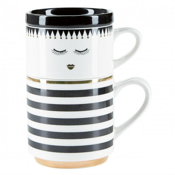"Miss Etoile Kaffeetasse ""Double stripes & closed eyes"" (Weiß / schwarz)"