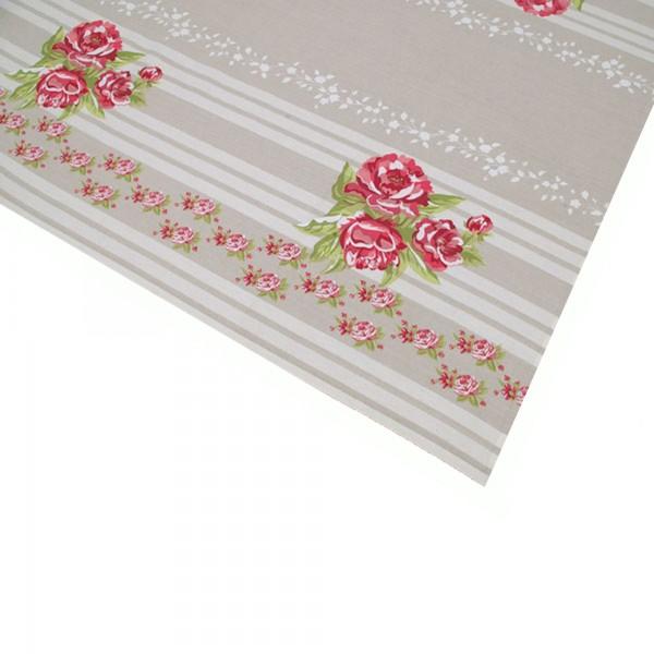 """Country Home Style Tischdecke """"Sarah"""" (beige/pink/weiß) 85x85cm"""
