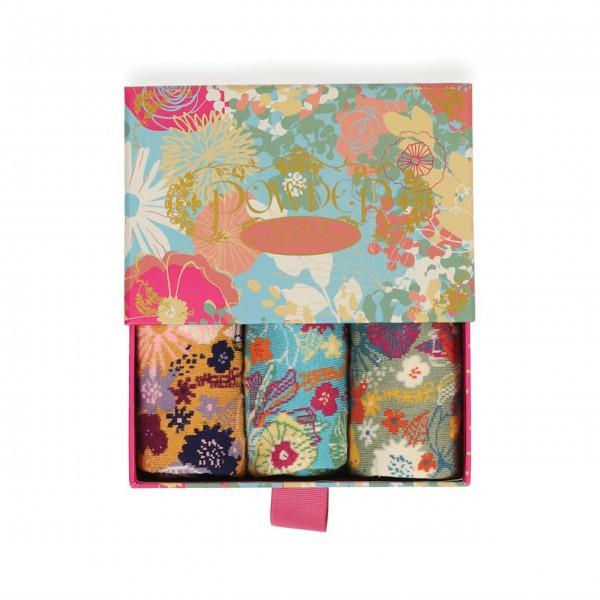 """Damen-Socken """"Modern Floral"""" (Bunt) - 3er-Set in Geschenkbox - von Powder"""