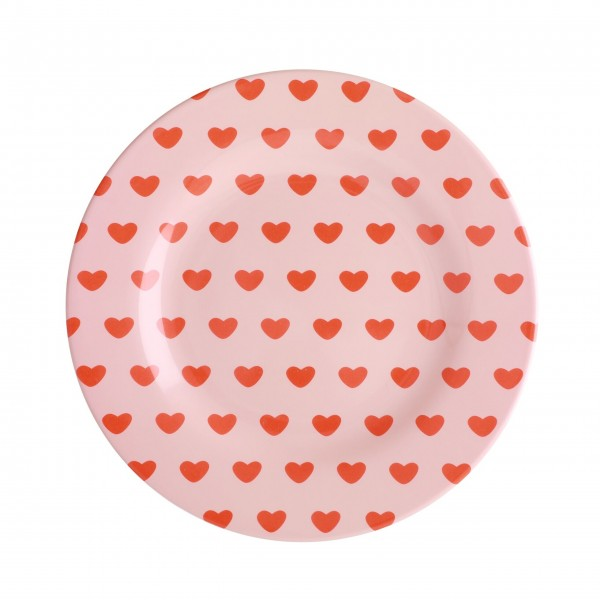 "Rice Melamin Teller ""Small hearts"" (Pink)"