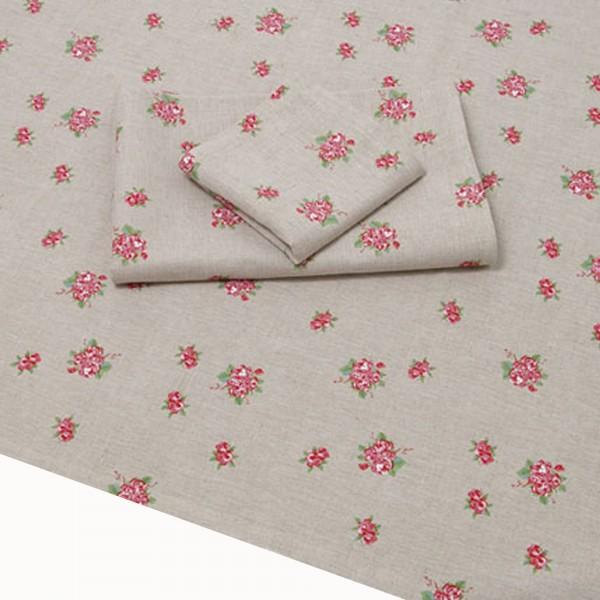 """Country Home Style Tischdecke """"Rosanna"""" (grau, rosa) 147x147cm"""