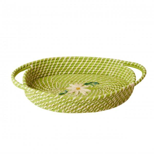 "rice Brotkorb aus Raffia - Oval ""Daisies"" (Apple Green - Grün)"