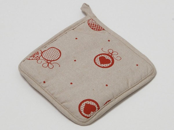 """Country Home Style Topflappen """"Weihnacht"""" (beige/rot) 16x16cm"""