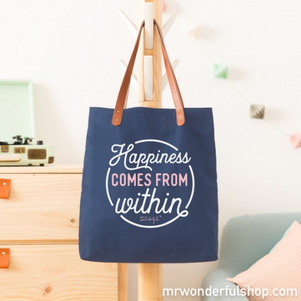 "Tragetasche ""Happiness comes from within"" (Blau) von mr. wonderful*"