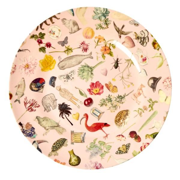 """Rice Melamin Teller """"Art Print"""" (Pink)"""