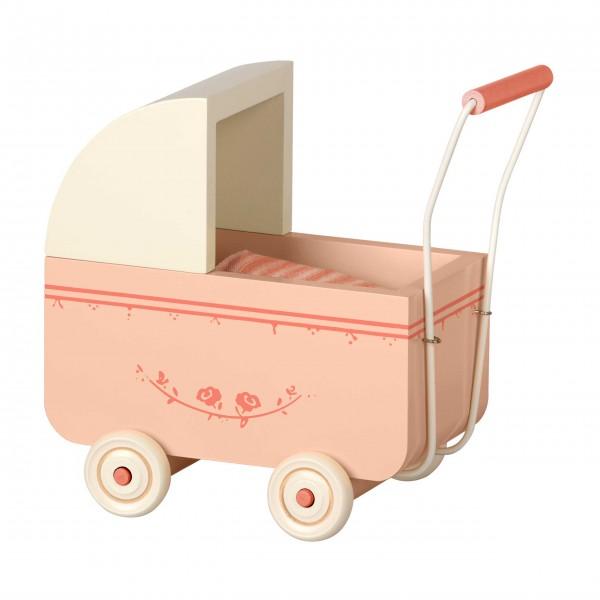 Entzückend für kleine Maileg-Puppen: Puppenwagen aus Holz