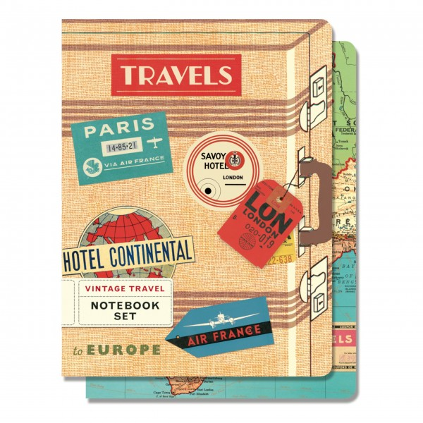"Cavallini Notizbuch-Set ""Vintage Travel"""