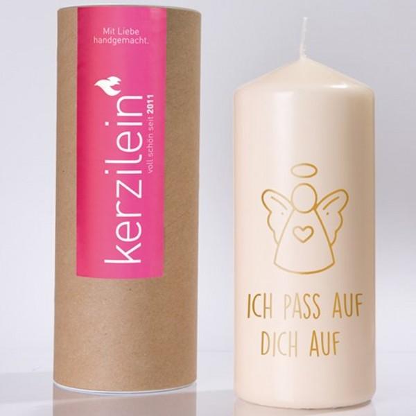 """Kerze """"ICH PASS AUF DICH AUF"""" mit Schutzengel (Gold) von Kerzilein"""