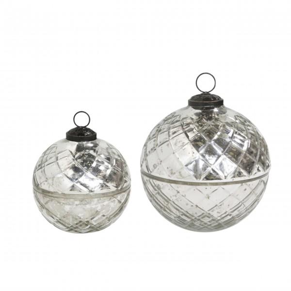 Chic Antique Glaskugel mit Kerze und Diamantenschliff