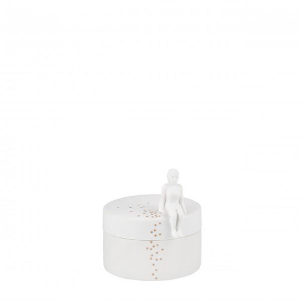 """Porzellandose mit Deckel """"Konfetti"""" (Weiß/Gold) von räder Design"""