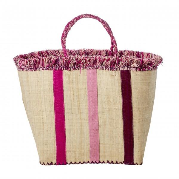 """Rice Korbtasche mit Streifen """"Raffia"""" (Pink)-1"""