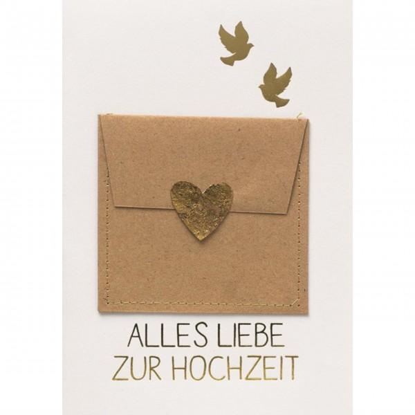 """Glückwunschkarte Gutscheinkarte """"Happy Birthday"""" (Herz goild) von räder Design"""