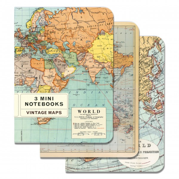 "Cavallini Mini-Notizbücher im Set ""Vintage World Maps"""