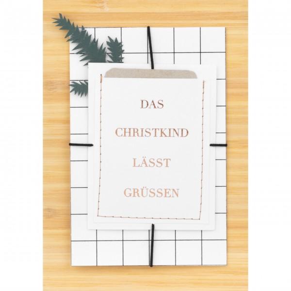"""Weihnachtskarte """"Das Christkind lässt grüßen"""" von räder Design"""