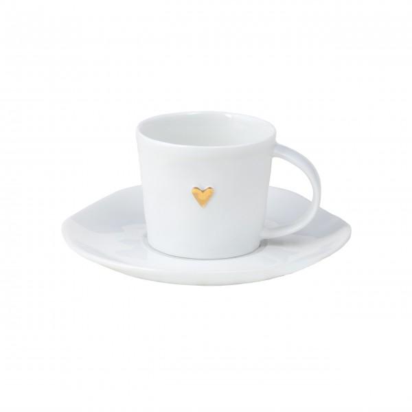 """Espressotasse aus Porzellan """"Goldenes Herz"""" (Weiss/Gold) von räder Design"""