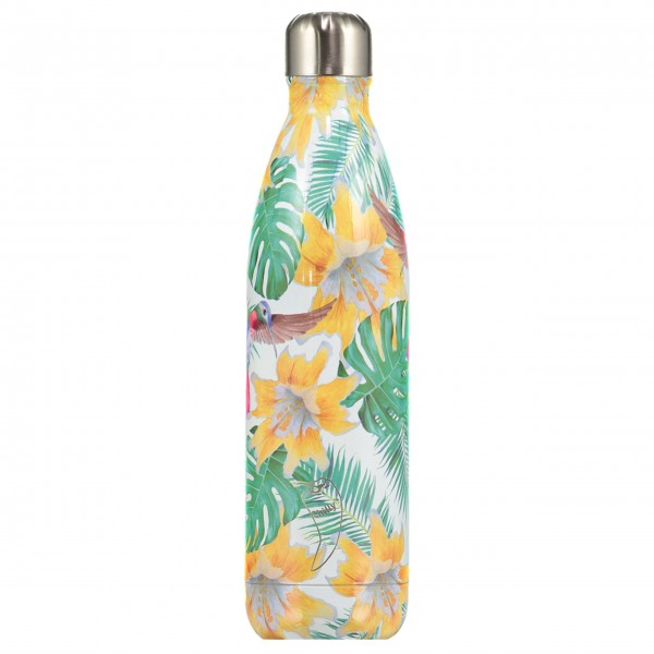"CHILLY'S Bottle Isolierflasche ""Tropical Flowers"" (Grün/Gelb), 750 ml"