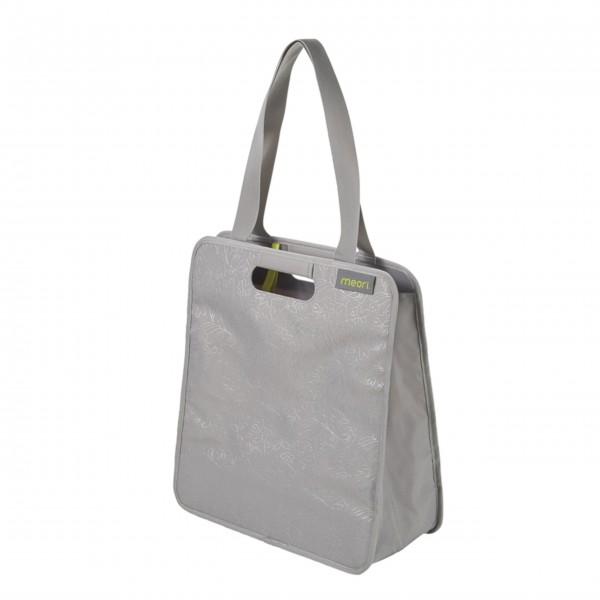 "meori Faltbare Einkaufstasche ""Stone Grey / Floral Silver Metallic Print"" - M"
