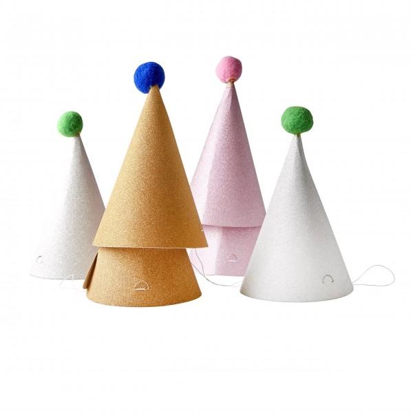 Rice Partyhüte mit PomPom im 6er-Set