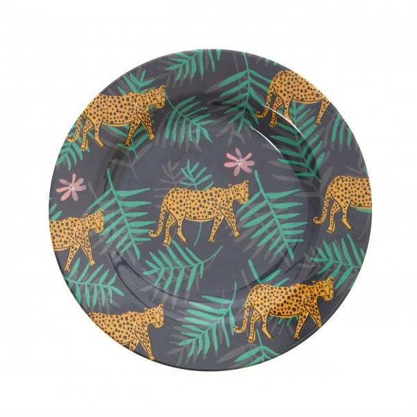 """Rice Melamin Teller """"Leopard and Leaves""""-1"""