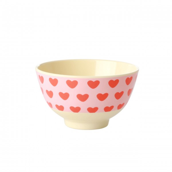 """Rice Melamin Schüssel """"Small hearts"""" - Klein (Pink)"""