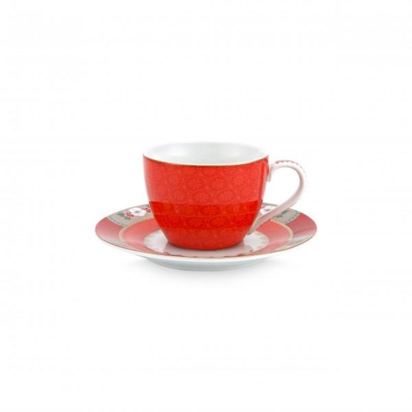 Pip Studio Espresso-Tasse mit Untertasse (Rot)