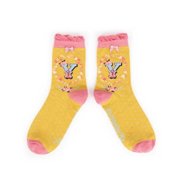 """Powder Damen Socken """"A-Z"""" - Buchstabe Y"""