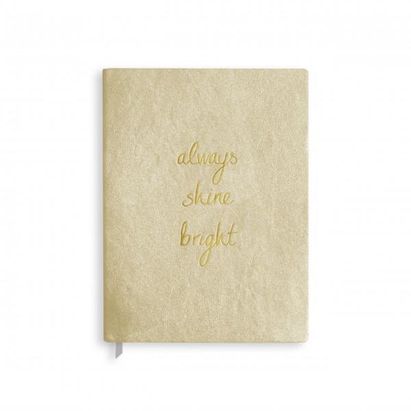 """großes Notizbuch """"Always shine bright"""" (gold) von KATIE LOXTON"""