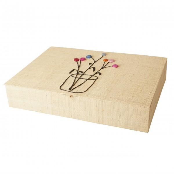 rice Besteckkasten aus Raffia mit Blumenstickerei