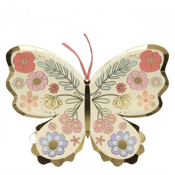 """Pappteller """"Schmetterling"""" 8 Stk. (floral) von Meri Meri"""