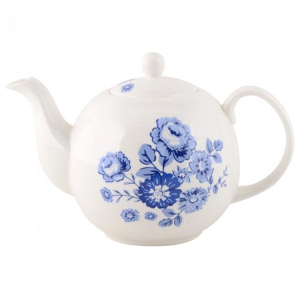 "Ib Laursen Teekanne ""Blue Rose"" (Weiß/Blau)"