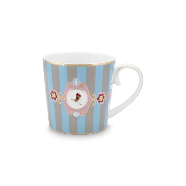 "Pip Studio Große Tasse ""Love Birds - Medallion"" - 250 ml (Blau/Khaki - Gestreift)"