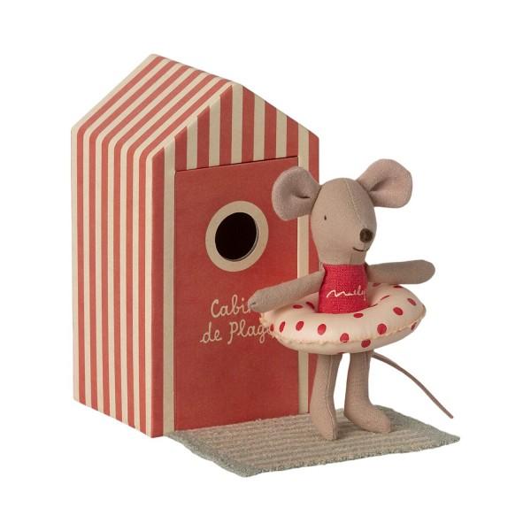 """Maileg Maus """"Kleine Schwester"""" mit Strand-Haus (Rot)"""