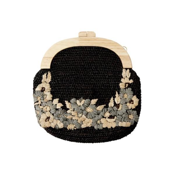 """Bast-Tasche """"Ava"""" mit gestickten Blumen (Black) von CURRY"""