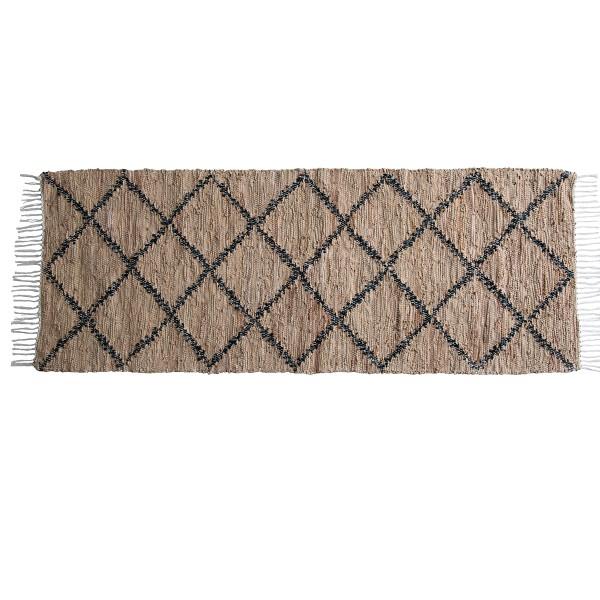Klassischer Teppich aus Leder und Baumwolle
