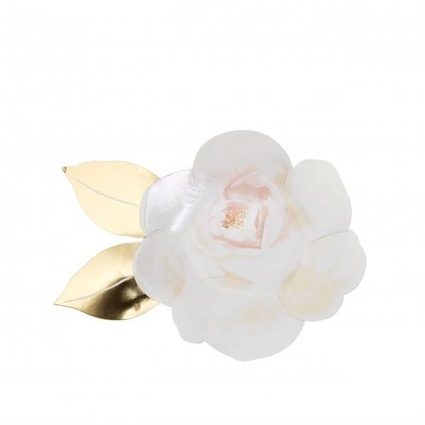 """Teller """"Weiße Rose"""" von Meri Meri"""
