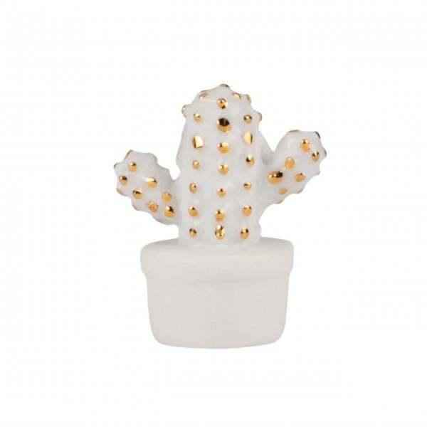 """Glücksbringer aus Porzellan """"Kaktus"""" - in Holzkiste (Weiß/Gold) von räder Design"""