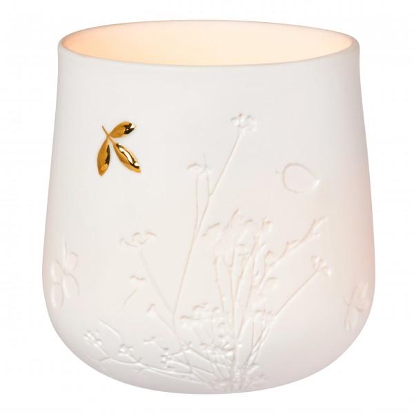 """Tischlicht mit goldenem Blatt """"Living"""" (Weiß/Gold) von räder Design"""