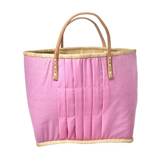 rice Korbtasche aus Raffia - Groß (Pink/Weiß - Gepunktet)