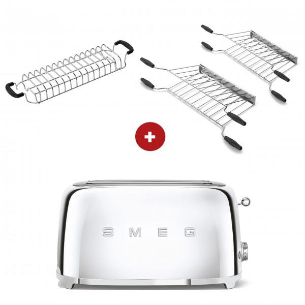 smeg Toaster Set - 2-Schlitz-Toaster lang (Chrom) mit Röstaufsatz und zwei Sandwichzangen