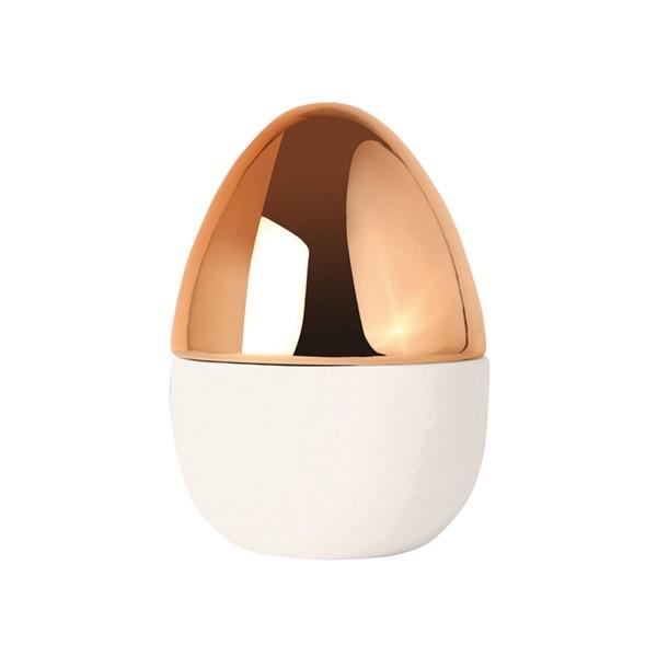 "Stilvolles Dekoei ""Vase"" in Kuper/Weiß aus Keramik"
